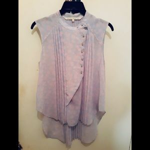 RACHEL ROY SLEEVELESS BLUE AND PINK PLEADED TOP